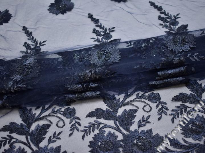 Сетка синяя с вышивкой полиэстер БГ652