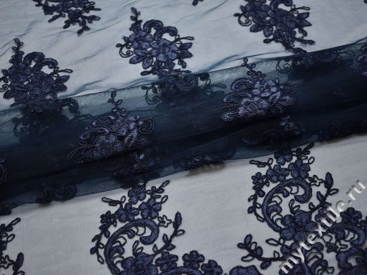 Сетка синяя с вышивкой полиэстер БГ653