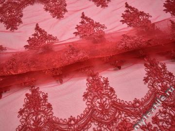 Сетка красная с вышивкой полиэстер БГ68