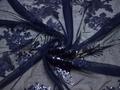 Сетка синяя с пайетками цветы полиэстер ГБ454