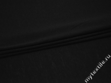 Трикотаж черный шерсть хлопок АМ28