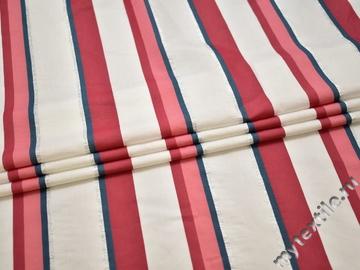 Шёлк белый красный полоска ЕБ216
