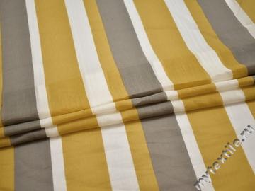 Шёлк желтый бежевый полоска ЕБ217