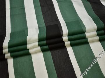Шёлк зеленый черный полоска ЕБ218