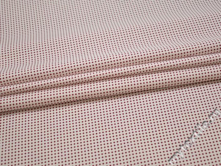 Рубашечная белая красная ткань геометрия хлопок ЕБ2107