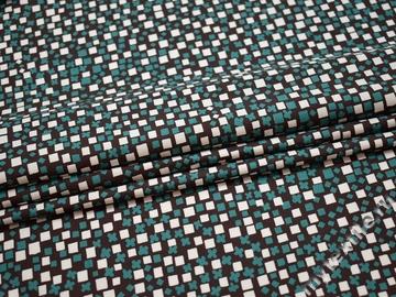 Рубашечная белая коричневая ткань геометрия хлопок ЕБ2105