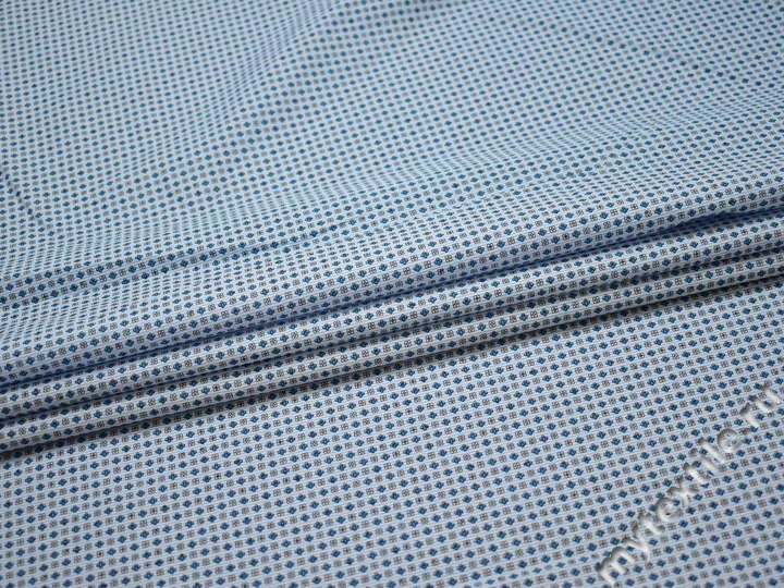 Рубашечная голубая синяя ткань узор хлопок ЕБ289