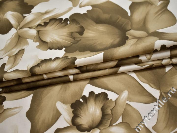 Батист хаки белый цветы хлопок ЕБ286