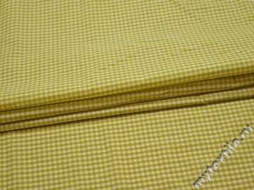 Рубашечная салатовая ткань клетка хлопок полиэстер БГ1112