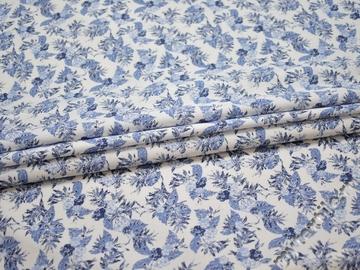 Рубашечная синяя белая ткань цветы хлопок ЕБ258