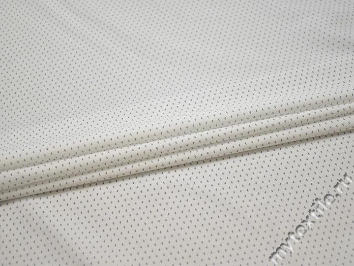 Рубашечная белая синяя ткань узор хлопок эластан ЕБ256