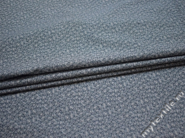 Рубашечная синяя серая ткань цветочный узор хлопок ЕБ232