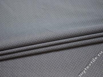 Рубашечная синяя белая ткань зигзаг хлопок ЕБ229