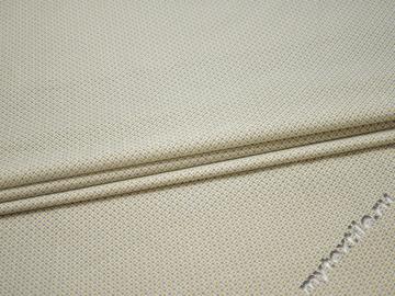 Рубашечная белая оливковая ткань геометрия хлопок эластан ЕБ223