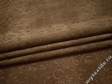 Джинс коричневый вышивка хлопок ЕА147