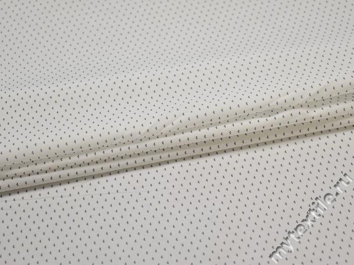 Рубашечная белая синяя ткань геометрия хлопок эластан ЕА329