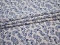 Рубашечная белая синяя ткань цветы хлопок ЕА333