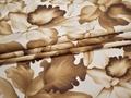 Рубашечная молочная коричневая ткань цветы листья хлопок ЕА337