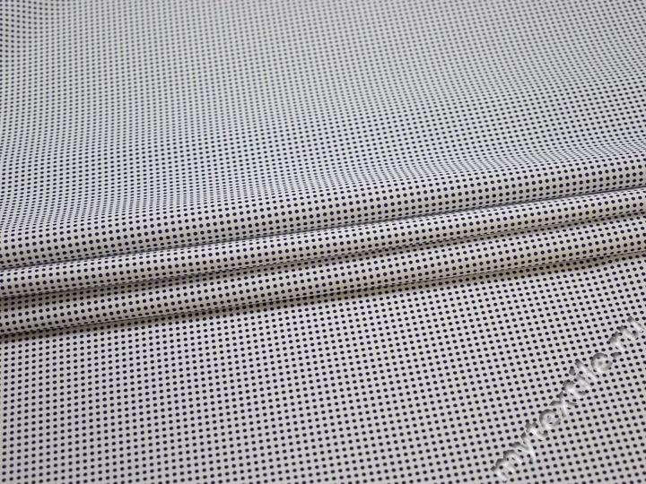 Рубашечная белая синяя ткань горох хлопок эластан ЕА349