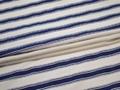 Рубашечная белая синяя ткань полоска хлопок эластан ЕА357