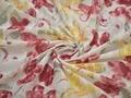 Батист бордовый желтый цветы хлопок ЕА363