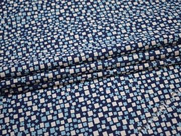 Рубашечная синяя белая ткань геометрия хлопок ЕА378