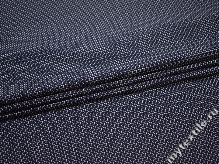 Рубашечная синяя белая ткань геометрия хлопок  эластан ЕА3100