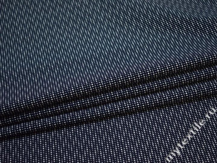 Рубашечная синяя белая ткань геометрия хлопок ЕА3125