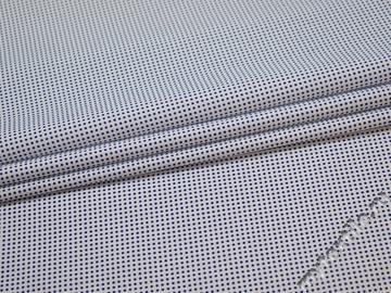 Рубашечная белая синяя ткань горох хлопок эластан ЕА3131