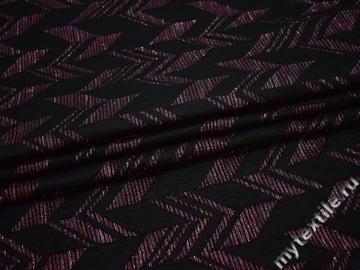 Жаккард черный с геометрическим узором полиэстер ЕВ42