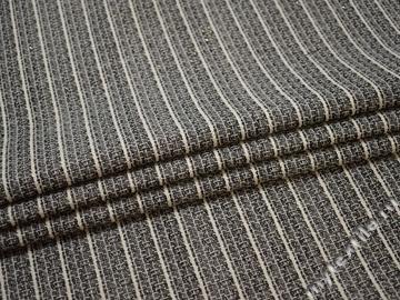 Жаккард черный белый полоска хлопок ЕВ411