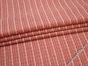 Жаккард красный белый полоска хлопок полиэстер ЕВ413