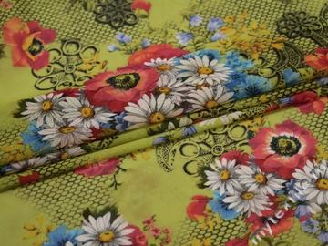 Сетка-стрейч зеленая красная цветы полиэстер БД217