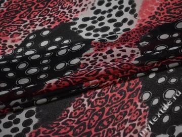 Сетка-стрейч красная серая круги полиэстер БД21