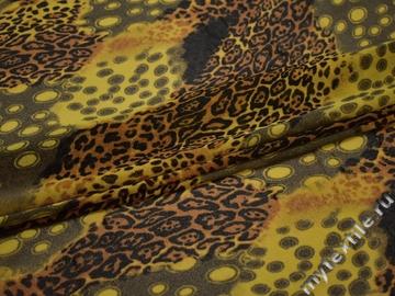 Сетка-стрейч желтая коричневая круги полиэстер БД213