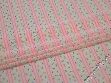 Сетка-стрейч молочная розовая полоска полиэстер БД219