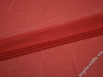 Сетка-стрейч красного цвета полиэстер БГ564