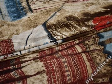 Сетка-стрейч терракотового цвета надписи полиэстер БД392