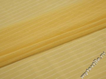 Сетка-стрейч желтого цвета полоска полиэстер БД311