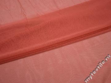 Сетка-стрейч кораллового цвета полиэстер БД535