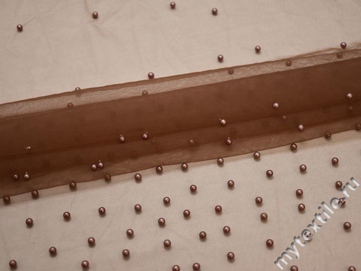 Сетка коричневая с бусинами полиэстер БЕ540