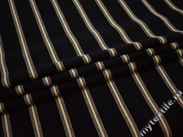 Костюмная черная бежевая ткань полоска хлопок ЕБ139