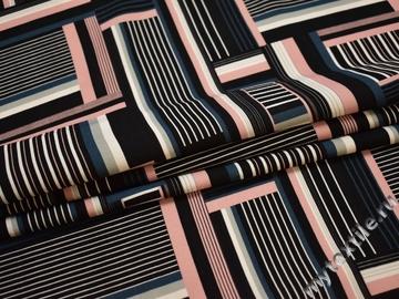 Плательная черная ткань геометрия полиэстер ЕБ31