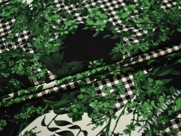 Плательная зеленая черная ткань цветы полиэстер ЕБ34