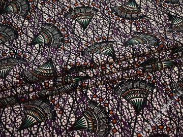 Плательная черная фиолетовая ткань геометрия полиэстер ЕБ35