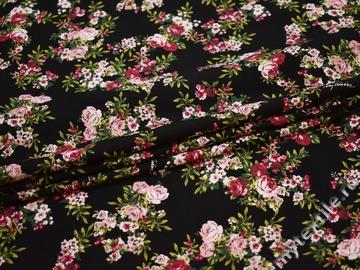 Плательная черная розовая ткань цветы полиэстер ЕБ338