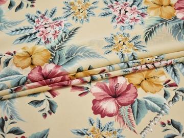 Плательная бежевая голубая ткань цветы листья полиэстер ЕБ341