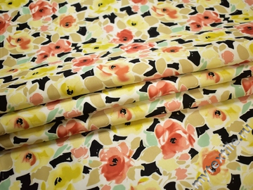 Шёлк-атлас желтый красный цветы полиэстер ЕБ335