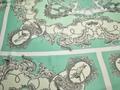 Шёлк-атлас бирюзовый серый узор полиэстер ЕБ334
