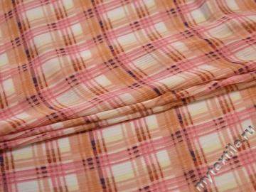 Плательная персиковая розовая ткань клетка полиэстер ЕБ357